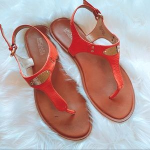 Michael Kors Leather Thong Sandals Orange